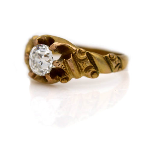 Victorian Rose Gold Solitaire Diamond Engagement Ring