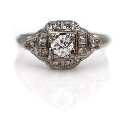 Unique Edwardian Diamond Halo Engagement Ring