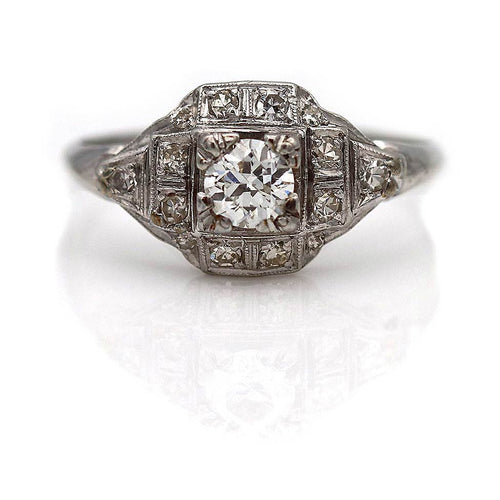 Art Deco Platinum Engagement Ring .35 Carat