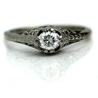 Intricate Diamond Solitaire Engagement Ring