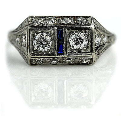 Art Deco Two Diamond & Sapphire Engagement Ring - Vintage Diamond Ring