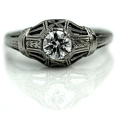 Vintage Floral Engraved Solitaire Engagement Ring