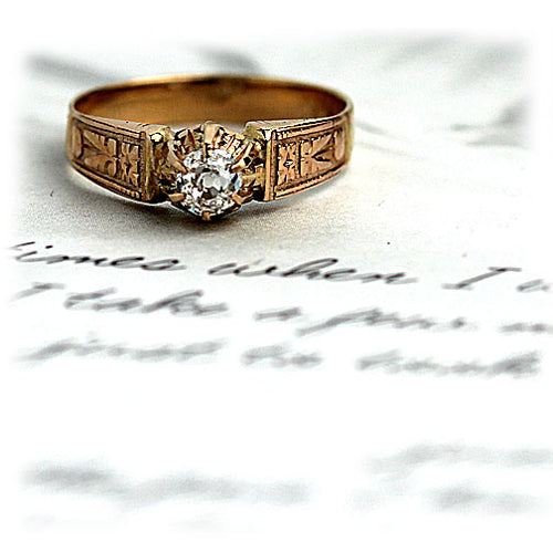 Rose Gold Solitaire Engagement Ring with Engraved Band