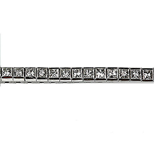 Mid-Century Straight Line Princess Cut Diamond Bracelet 7.50 Carat