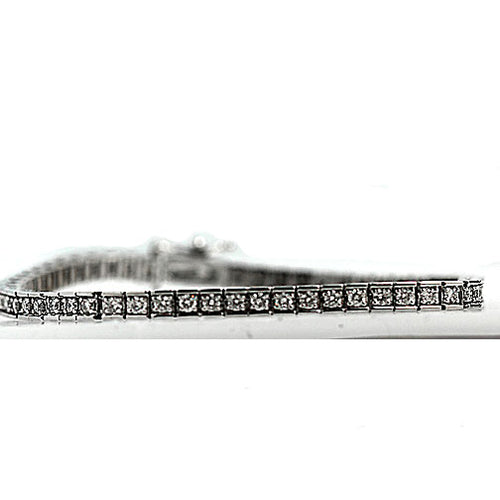 3.60 Carat Vintage Straight Line White Gold Diamond Bracelet