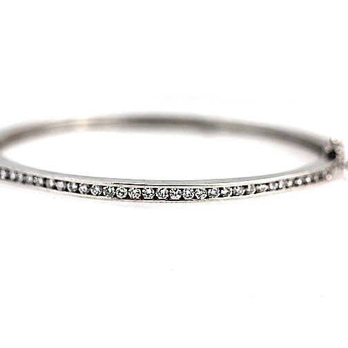 Channel Set White Gold Diamond Bangle Bracelet