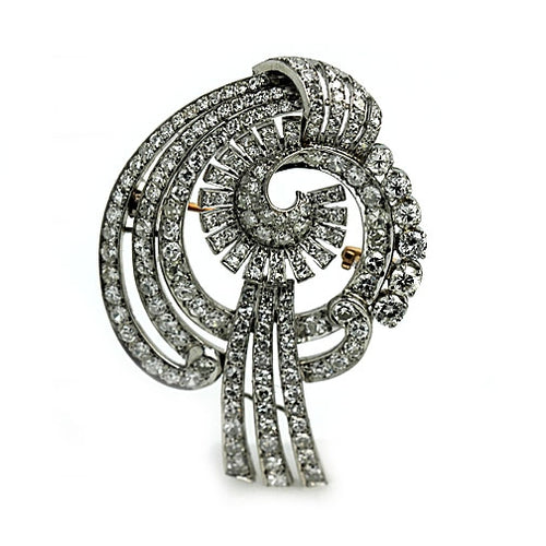 7.50 Carat Art Deco Platinum Diamond Spray Brooch