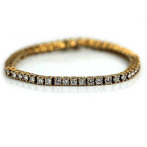 Mid Century Yellow Gold Diamond Tennis Bracelet 6.00 Carat