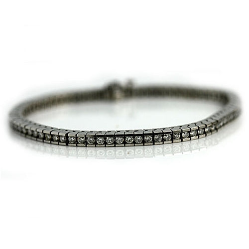 Vintage White Gold Straight Line Diamond Bracelet
