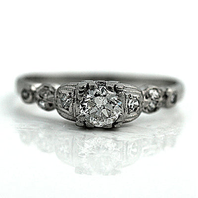 Platinum European Cut Engagement Ring with Side Stones