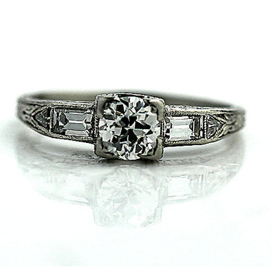 Vintage Engagement Ring with Baguette and Kite Diamonds