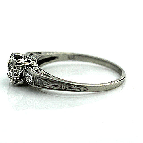 Art Deco Platinum Engagement Ring .50 Carat