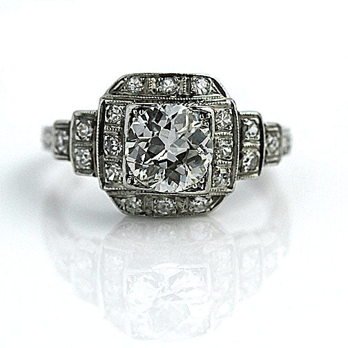 1.05 Carat Art Deco Diamond Engagement Ring