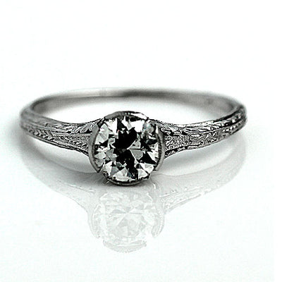 Platinum Solitaire Engagement Ring with Engraved Band