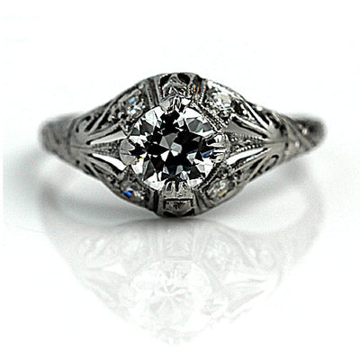 Unique Antique Split Shank Diamond Engagement Ring