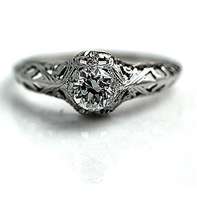 Hand Engraved Solitaire Diamond Engagement Ring