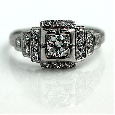 Art Deco Halo Engagement Ring with Tiered Side Stones