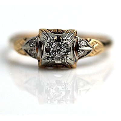 Illusion Set Diamond Engagement Ring with Side Stones
