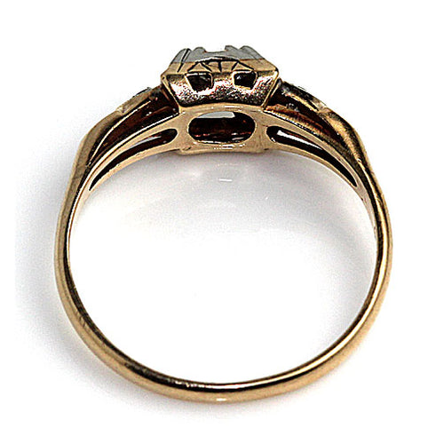 1940's Two Tone Diamond Engagement Ring with Side Diamonds