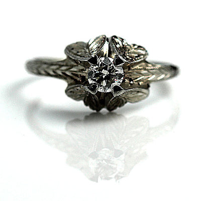 Art Deco Engagement Ring with Filigree Band