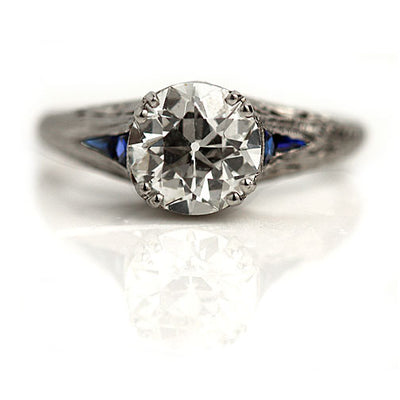 1.52 CT European Cut Diamond & Sapphire Engagement Ring - Vintage Diamond Ring