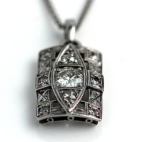 Art Deco Diamond Pendant in Platinum