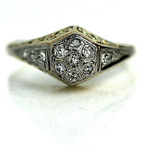 Vintage Two Tone Diamond Cluster Ring