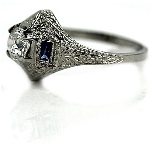 Prong Set Diamond & Sapphire Engagement Ring