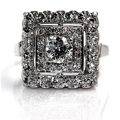 Vintage Square Halo Diamond Engagement Ring