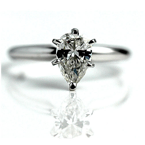 Six Prong Pear Shape Diamond Engagement Ring