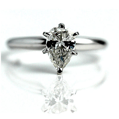 Vintage GIA Certified Pear Shape Diamond Engagement Ring