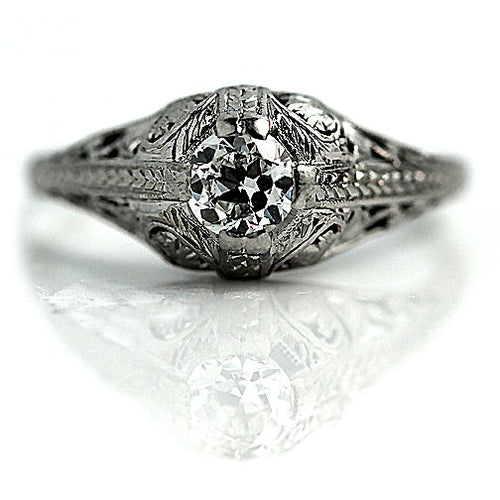 Art Deco Solitaire Engagement Ring with Filigree Engravings