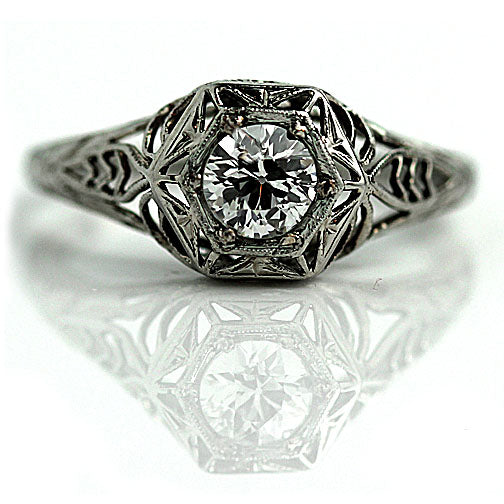 Art Deco Solitaire Engagement Ring .45 Carat
