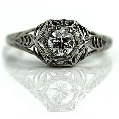 Vintage Solitaire Engagement Ring with Engraved Tapered Band