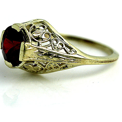 Yellow Gold Garnet Engagement Ring