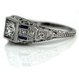 Art Deco .40 Carat Diamond Sapphire Ring GIA I VS2