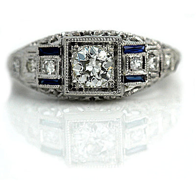 Art Deco Diamond & Sapphire Baguette Engagement Ring - Vintage Diamond Ring