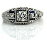 Millegrain Square Diamond Engagement Ring with Sapphire Side Stones
