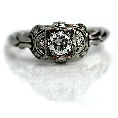Art Deco Intricate Diamond Engagement Ring