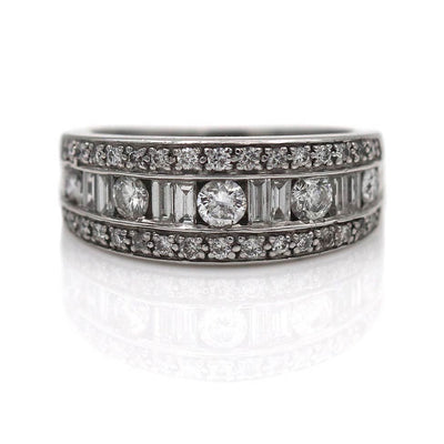 Baguette and Round Diamond Channel Set Half Eternity Ring