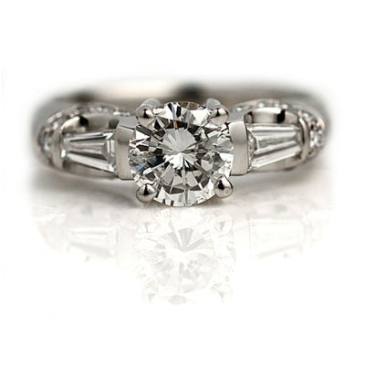Unique Diamond Engagement Ring with Side Baguettes