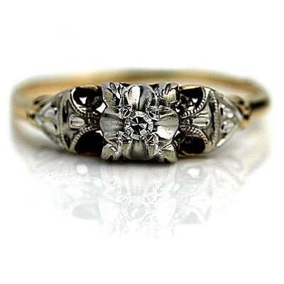 Illusion Set Engagement Ring with Milgrain Engravings