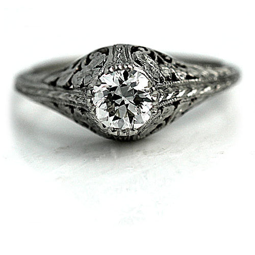 Art Deco Diamond .50 Carat Platinum Engagement Ring