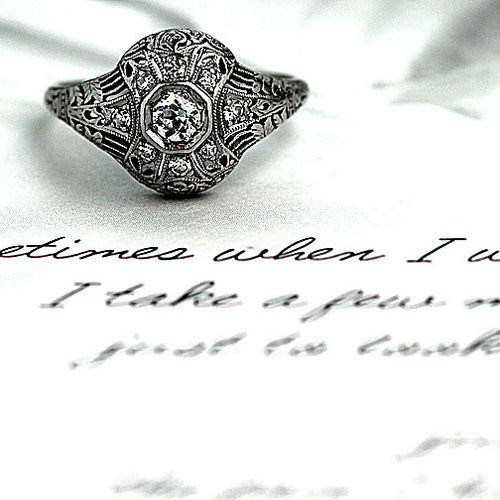 Rare Platinum Filigree Engagement Ring