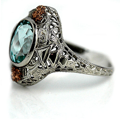 Art Deco 2.00 Carat Blue Gemstone Ring