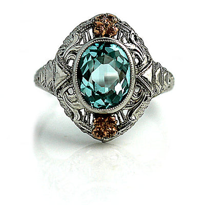 Bezel Set Two Tone Blue Gemstone Ring - Vintage Diamond Ring