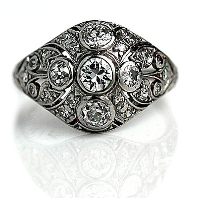Edwardian Platinum & Diamond Dome Engagement Ring