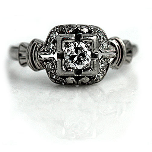 Art Deco Engagement RIng .30 Carat in Platinum