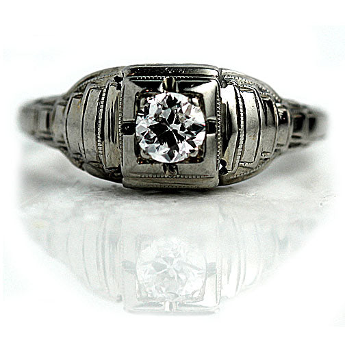 .30 Carat Art Deco European Cut Solitaire Ring