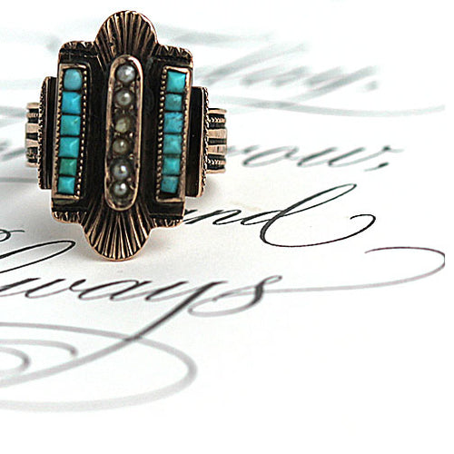 Turquoise & Pearl Cocktail Ring